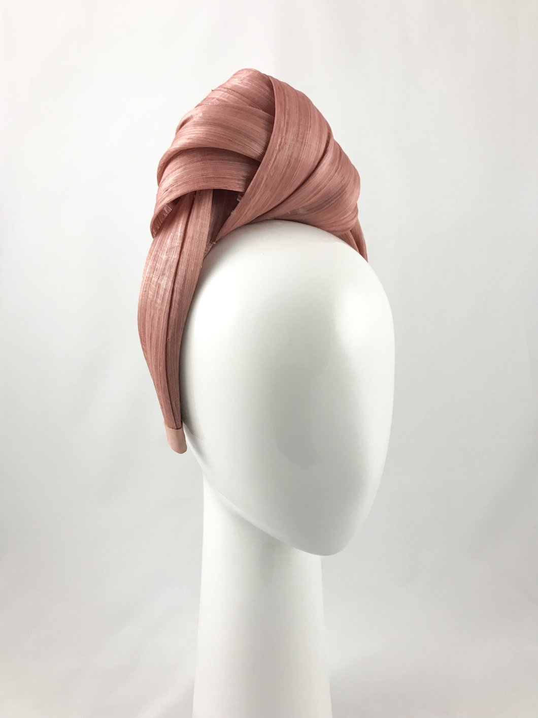 Dusty Pink Turban Headband, Design by shimmer, aria boutique, hat hire