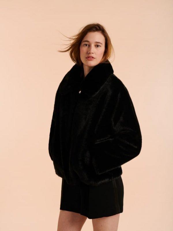 Tara Jarmon Black Faux Fur Violette Jacket