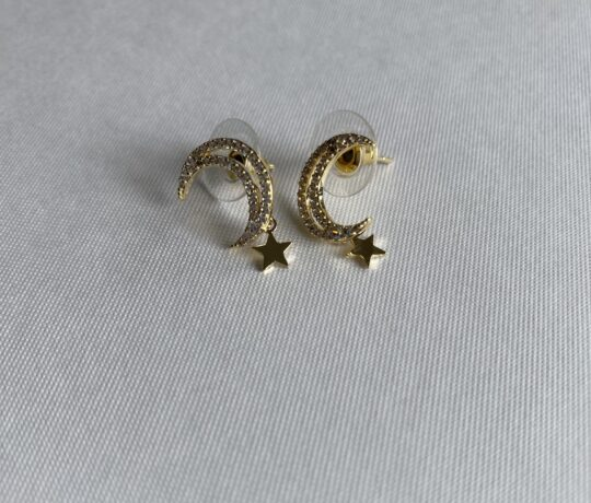 gold, crystal moon shaped earrings with star drop