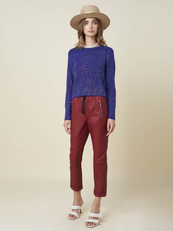 Silvian Heach Red Faux Leather Trouser