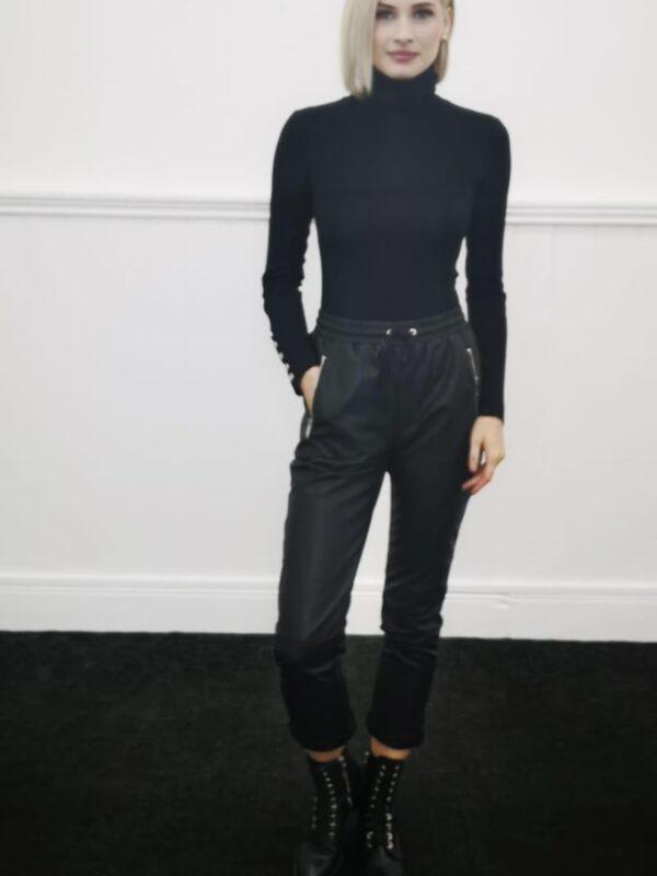 Silvian Heach Black Faux Leather Trouser