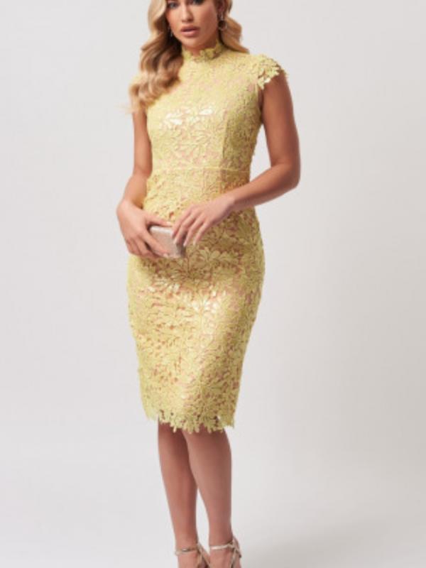 Forever Unique Lime Sequin Lace Dress