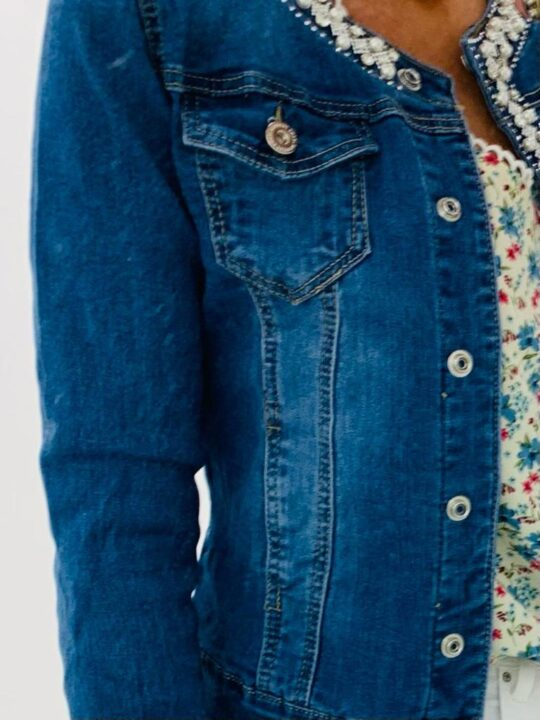 Kyla Denim Jacket With Pearl and Crystal Detailing