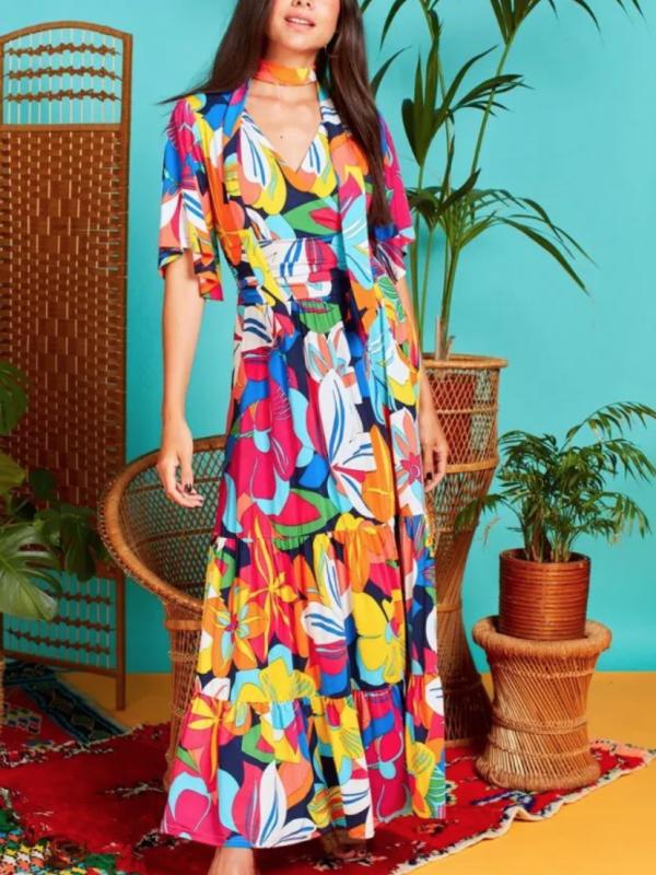 Onjenu Tilly Maxi In Tropical Print