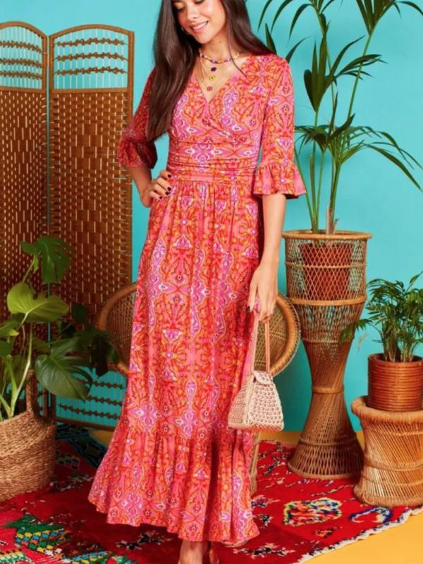 Onjenu Leslie Serifos Coral Dress