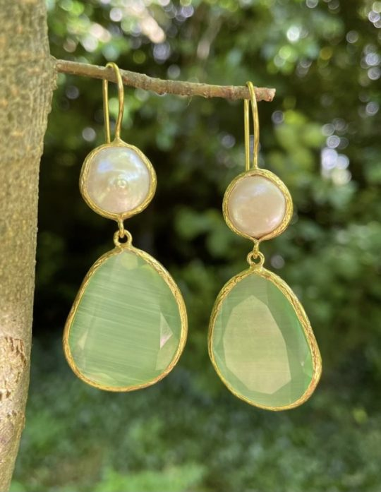 Gold Plated Resin Drop Earring With Pear Detail