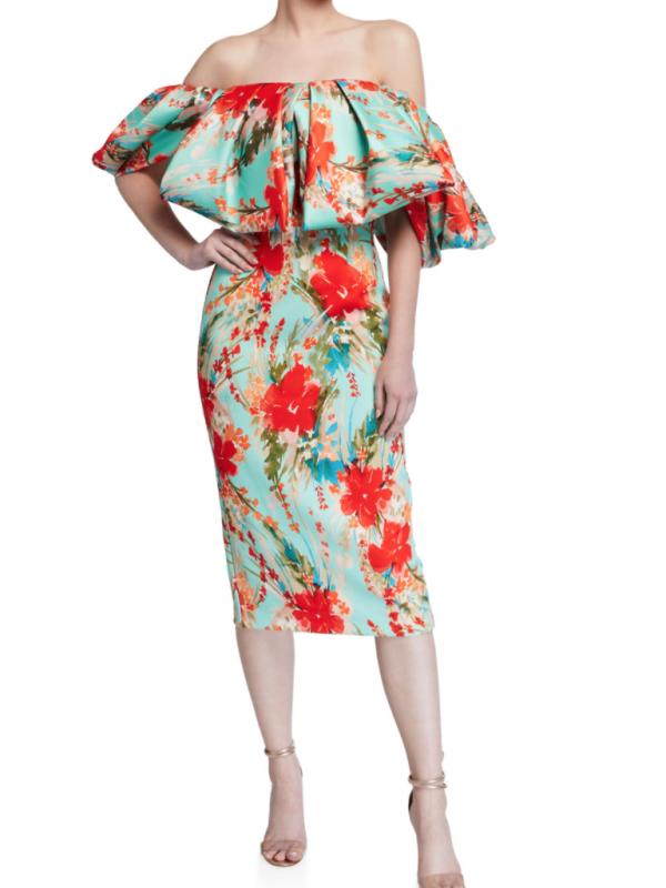 Badgley Mischka Printed Cocktail Dress