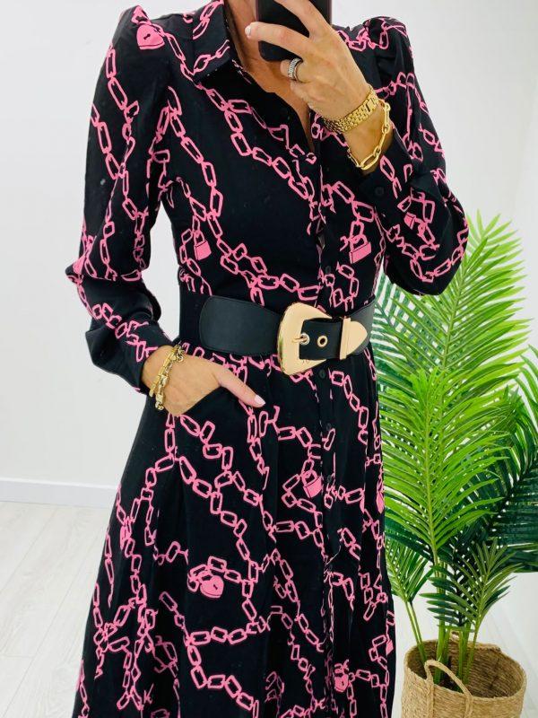 Kyla Chain Print Shirt Dress