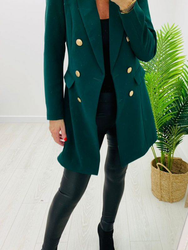 Kyla Long Line Green Blazer