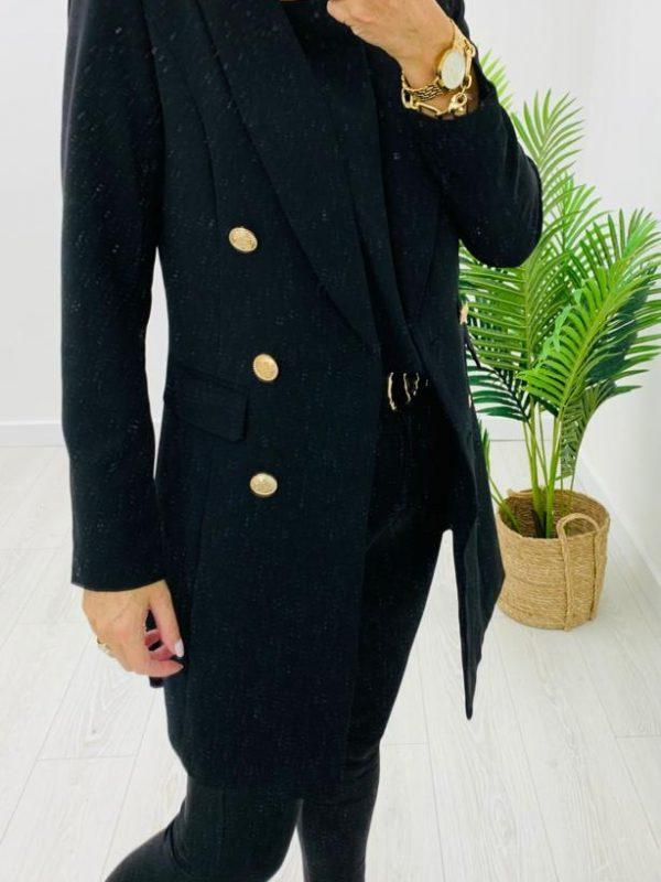 Kyla Long Line Black Blazer