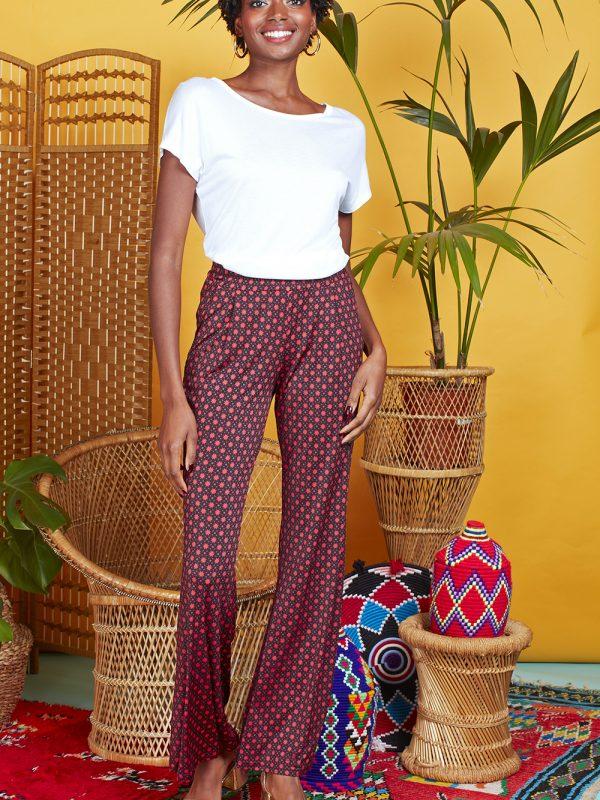 Onjenu Hannah Star Coral Printed Trousers