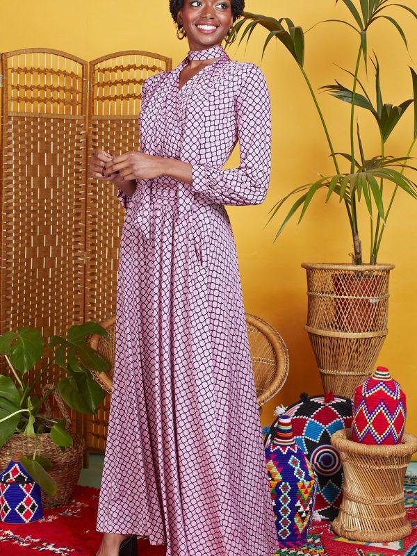 Onjenu Sharon Tile Pink Maxi Dress