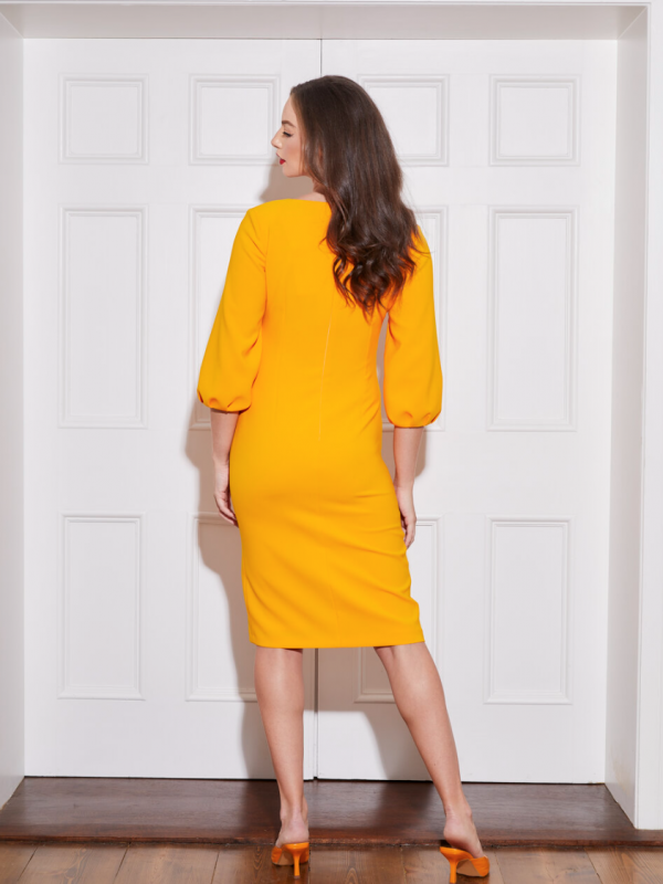 Caroline Kilkenny Lucy Puff Mango Dress